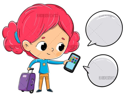 Girl with a suitcase chatting with the phone