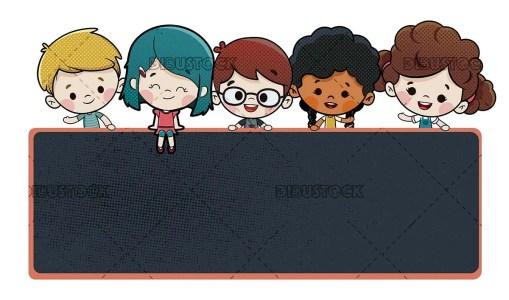 children with a blackboard