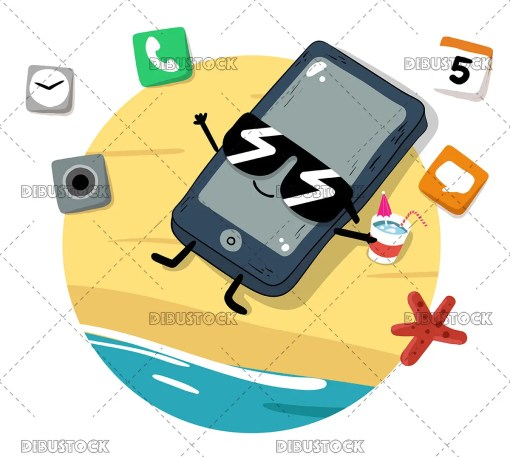 holiday phone lying on the beach