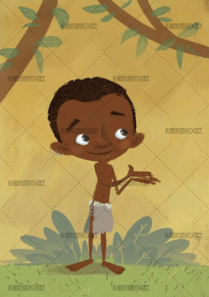 African boy in the jungle