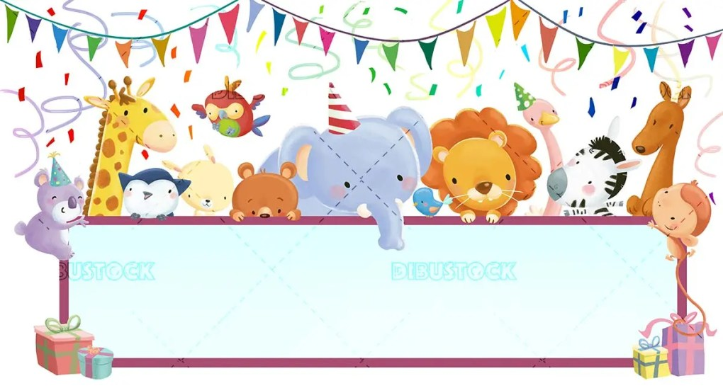 Birthday greeting with animals raising a sign