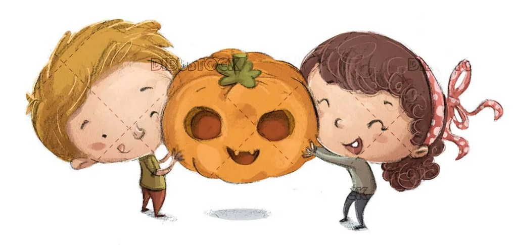Boy and girl catching a halloween pumpkin on isolated background