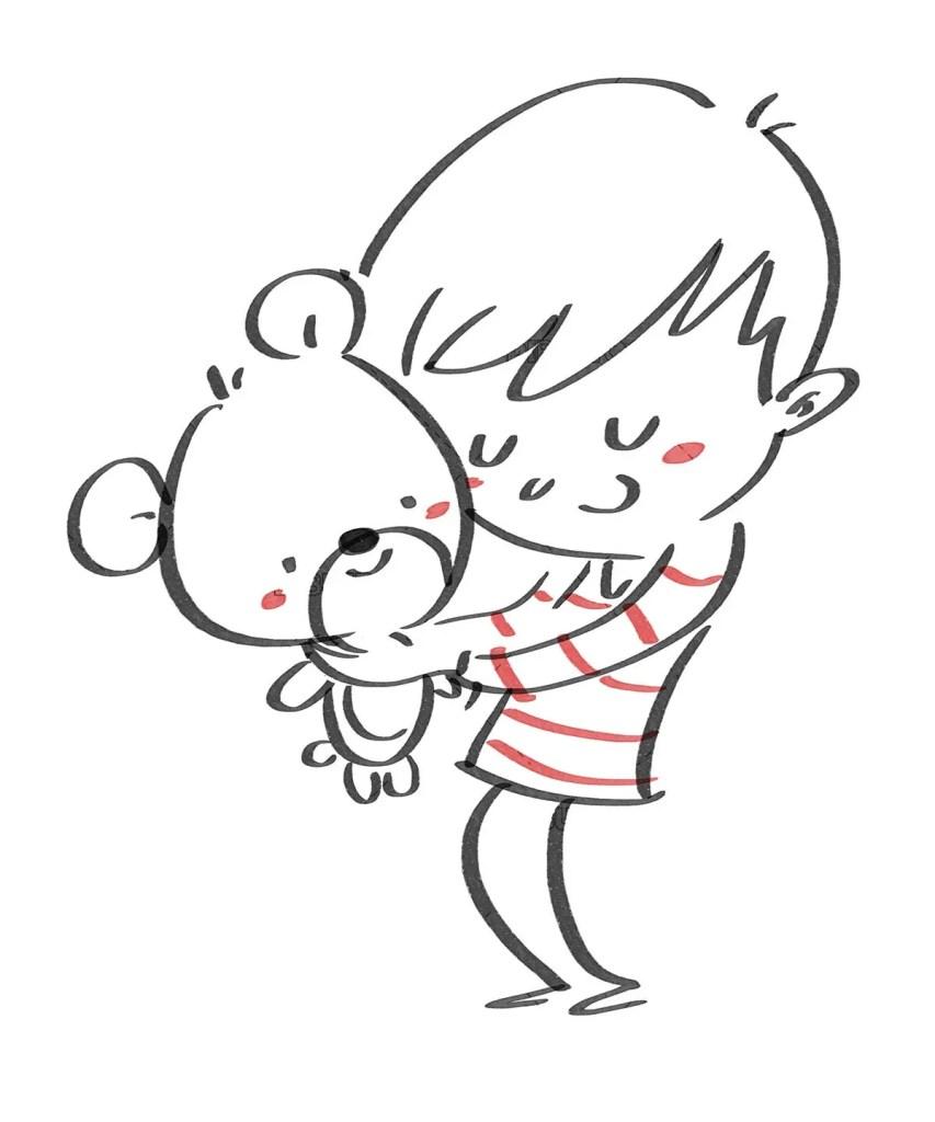 Boy hugging his teddy bear. Black line