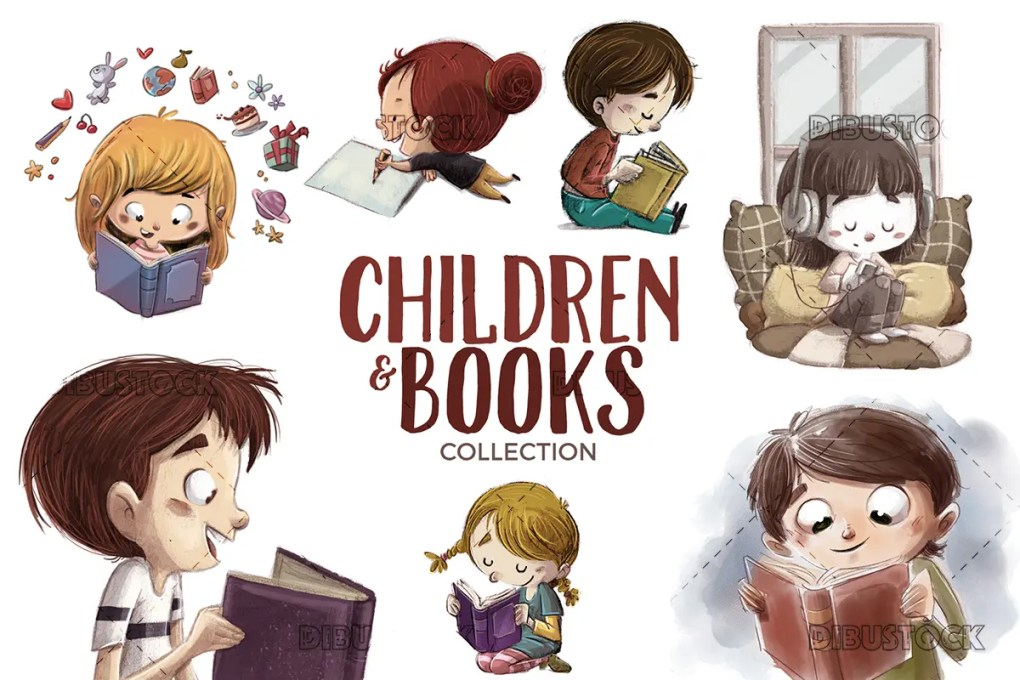 Set of 7 illustrations of children reading with white background