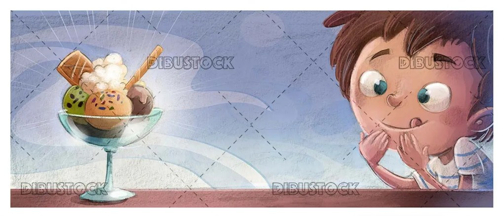 a boy looking at a glass of ice cream with texture background