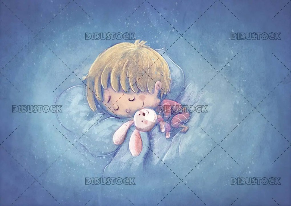 baby asleep on pillows with blue textured background