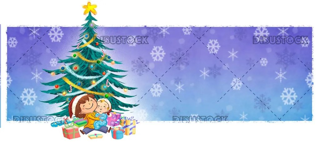 boy and baby with christmas gifts and ornate tree background