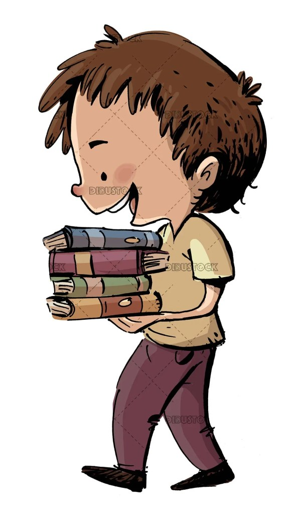 boy carrying a few books in his hands