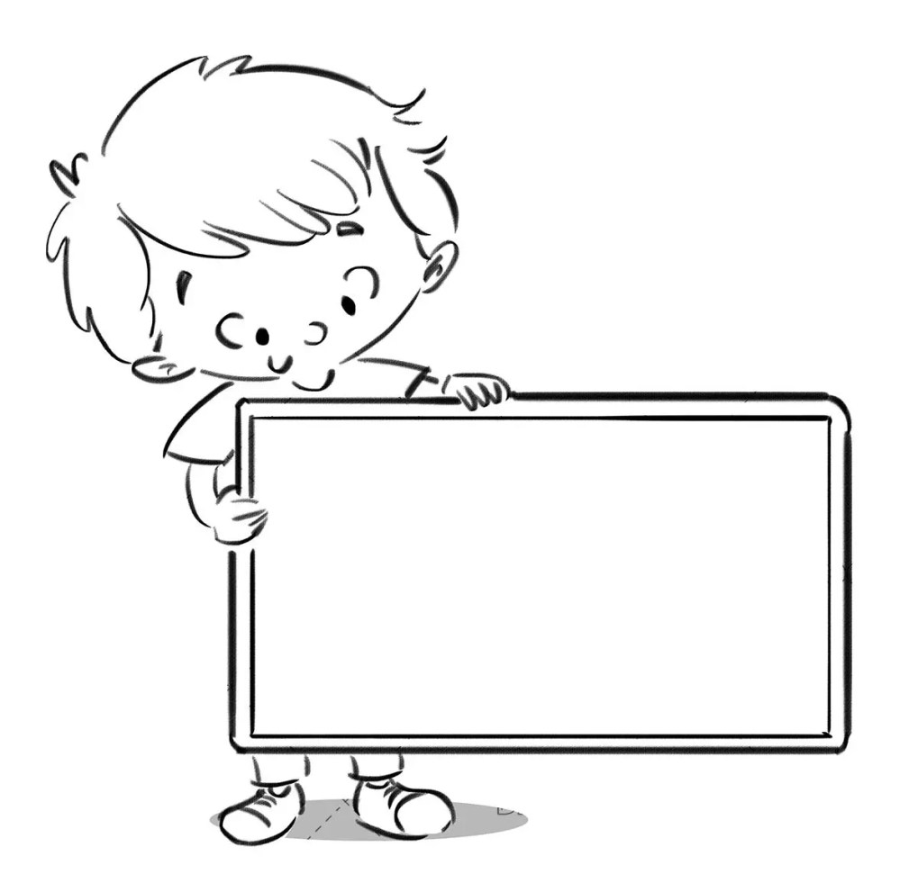 boy catching a rectangular sign with black line