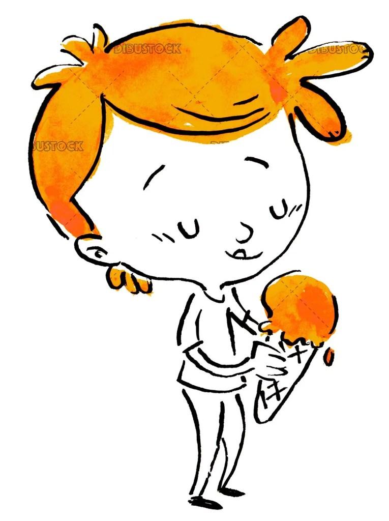 boy eating a delicious orange ice cream