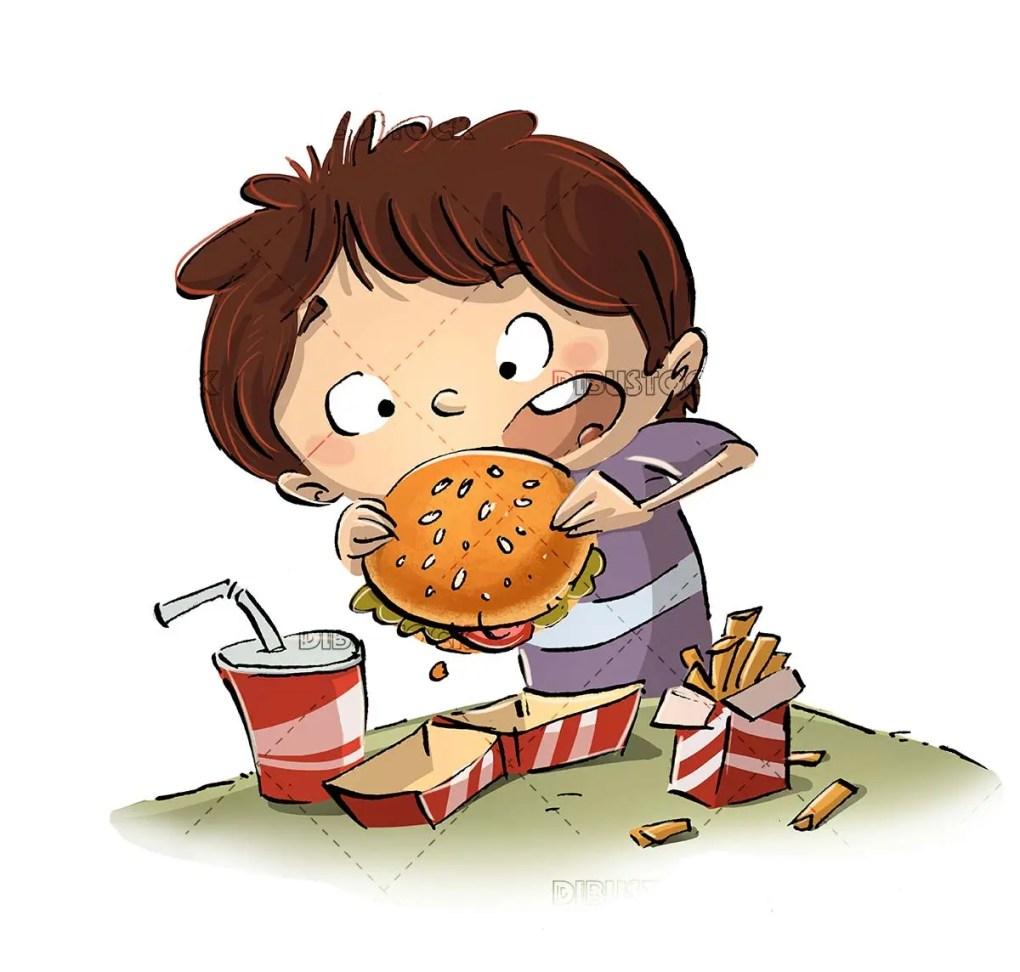 boy eating a hamburger menu with potatoes