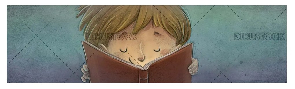boy face reading his book with textured background