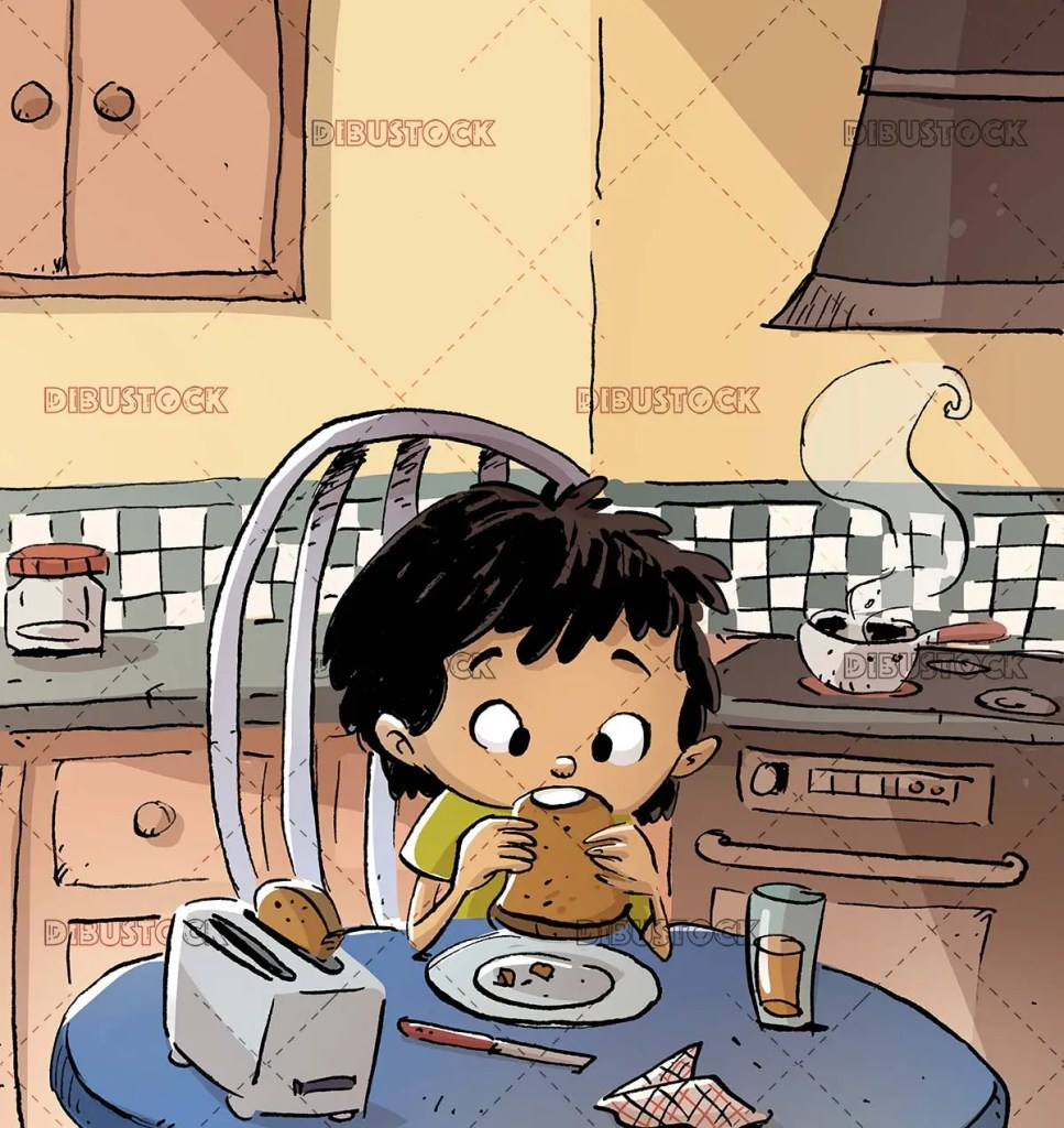 boy having breakfast toast in the kitchen