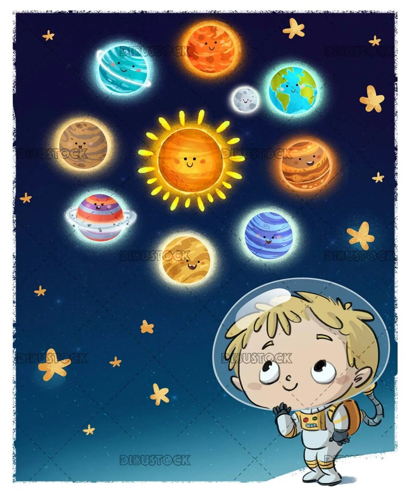 boy in spacesuit watching the planets