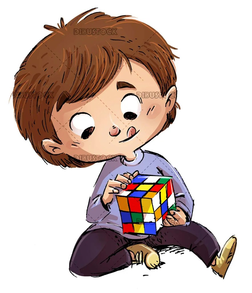 boy playing with rubiks cube