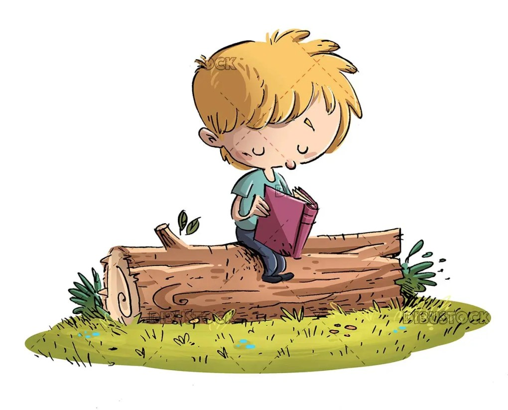 boy reading on top of a tree trunk with isolated background