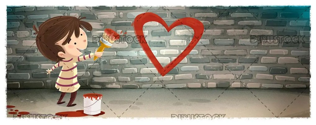 boy with brush and paint painting a heart on a wall