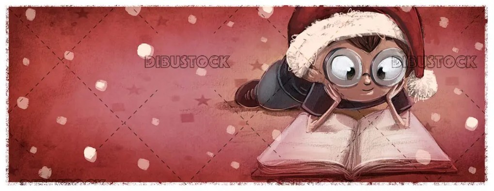 boy with glasses lying reading a book with christmas hat