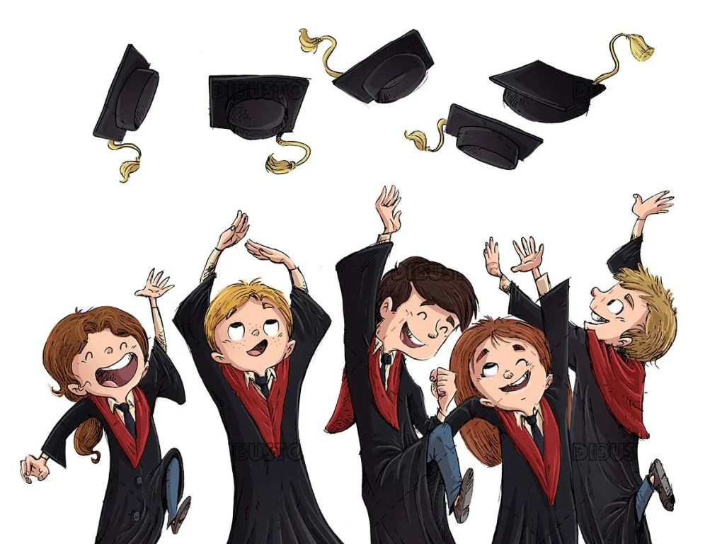 Children celebrating graduation by throwing mortarboards