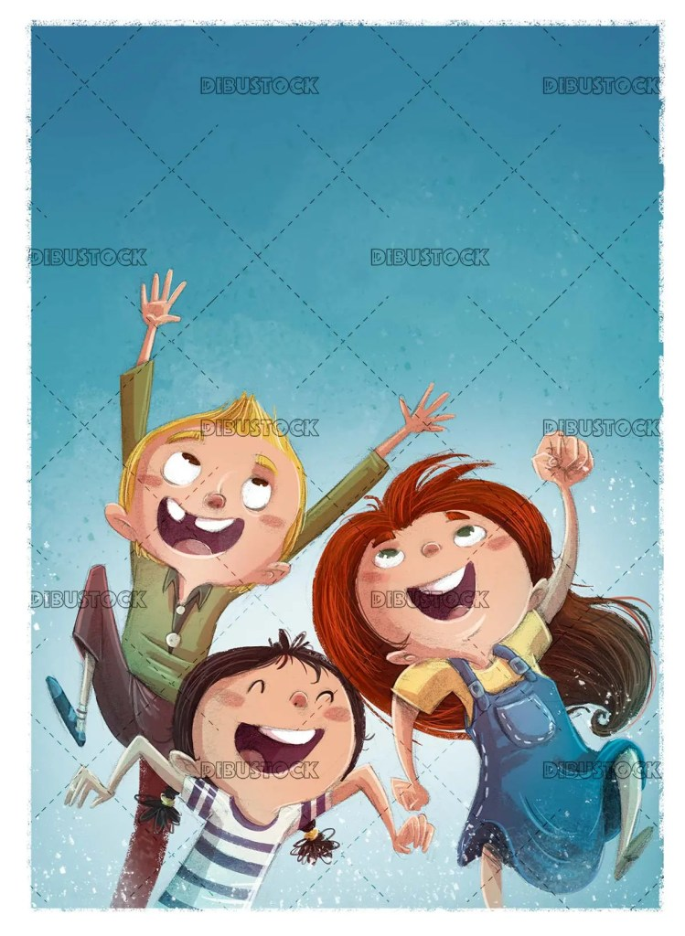 Children jumping for joy with blue background and texture