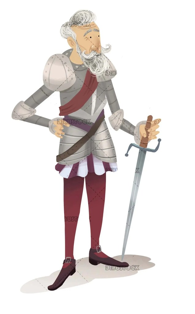 Classic knight with armor and sword