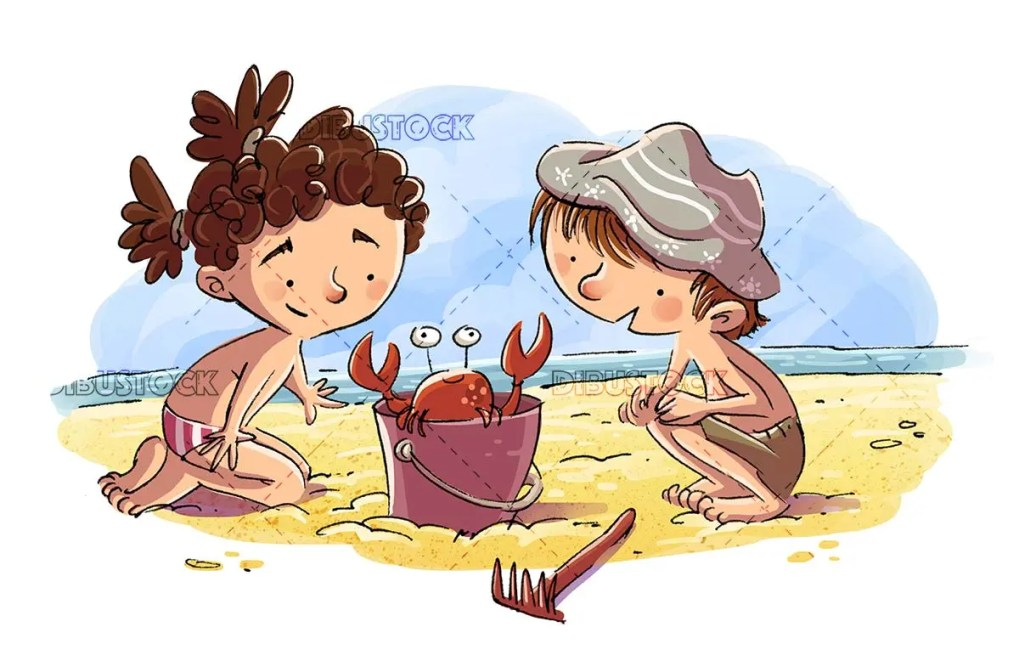 Girl and boy watching a crab in the sand on the beach