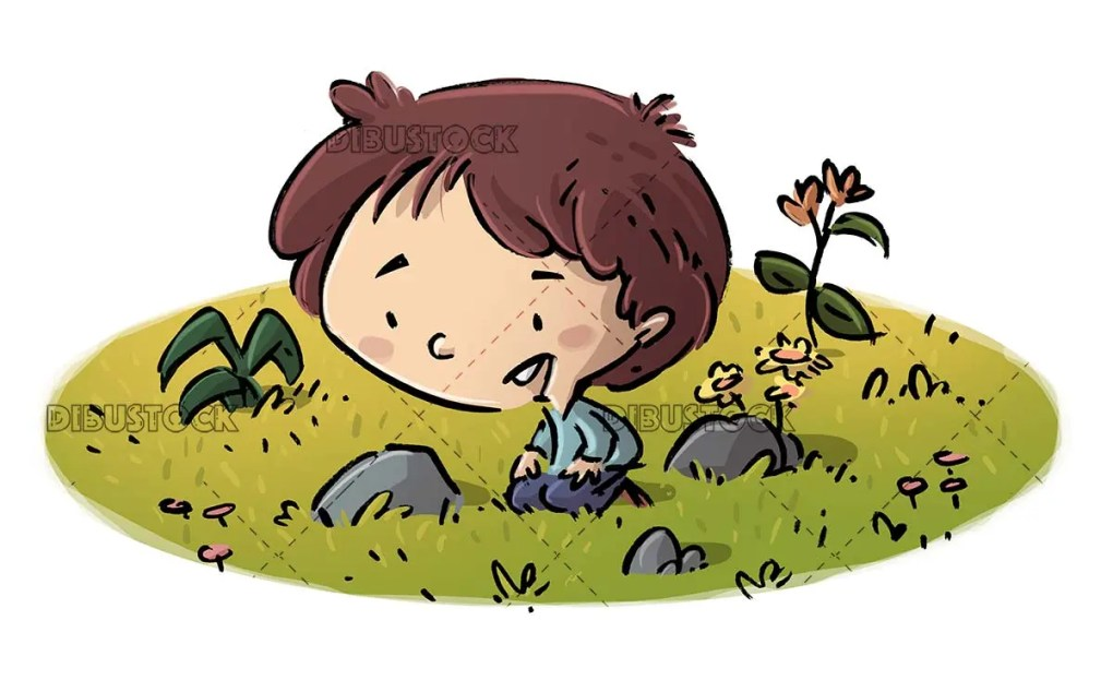 boy sitting on the grass with flowers beside