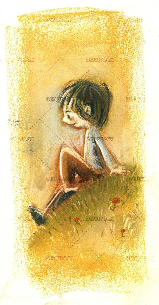 boy sitting on the meadow watching