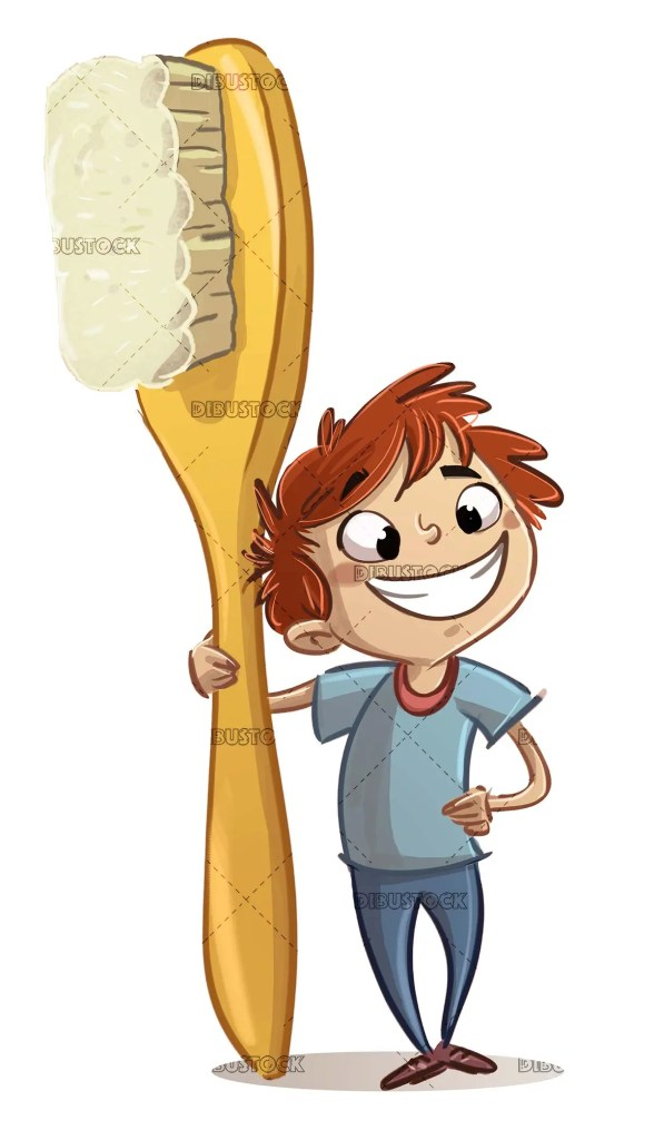 boy with giant toothbrush and smile