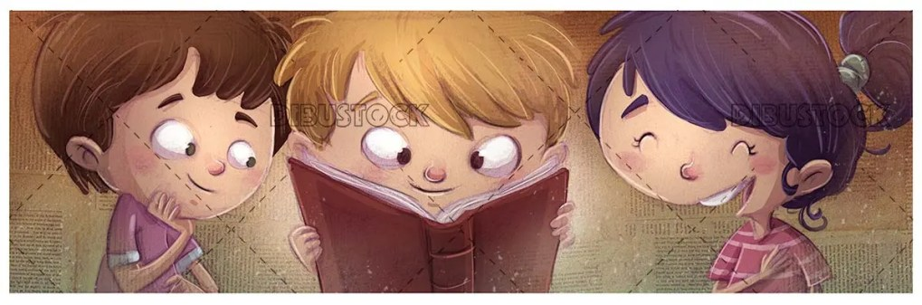 face of three children looking at a book happy