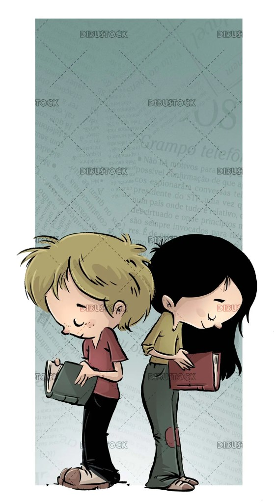 girl and boy standing reading a book each