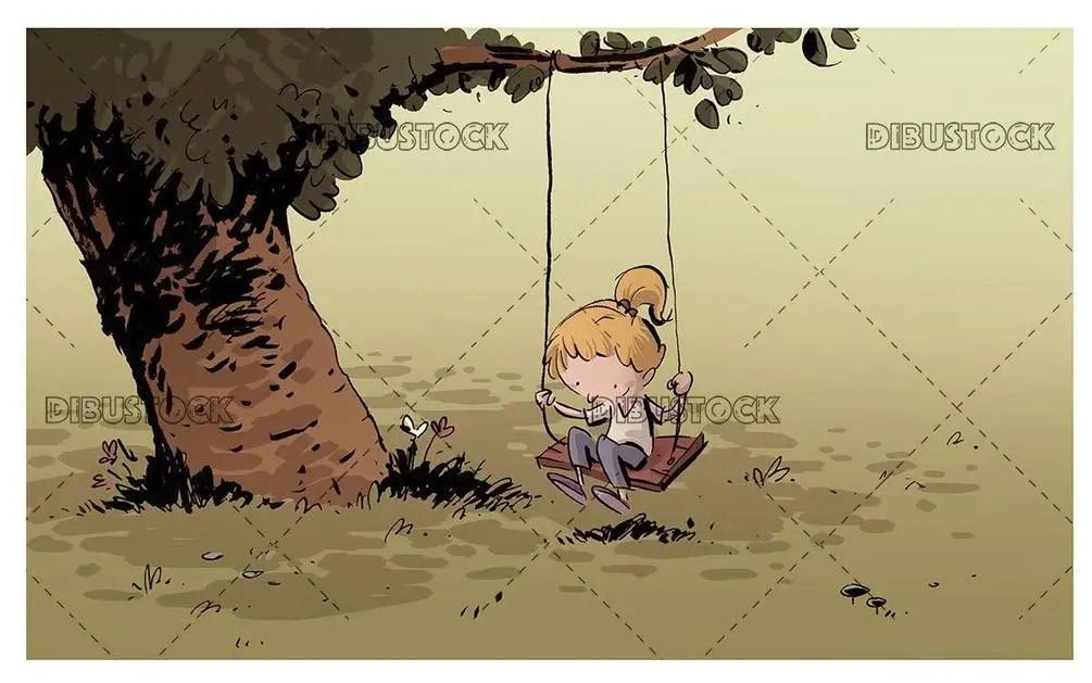 girl in the field on a swing
