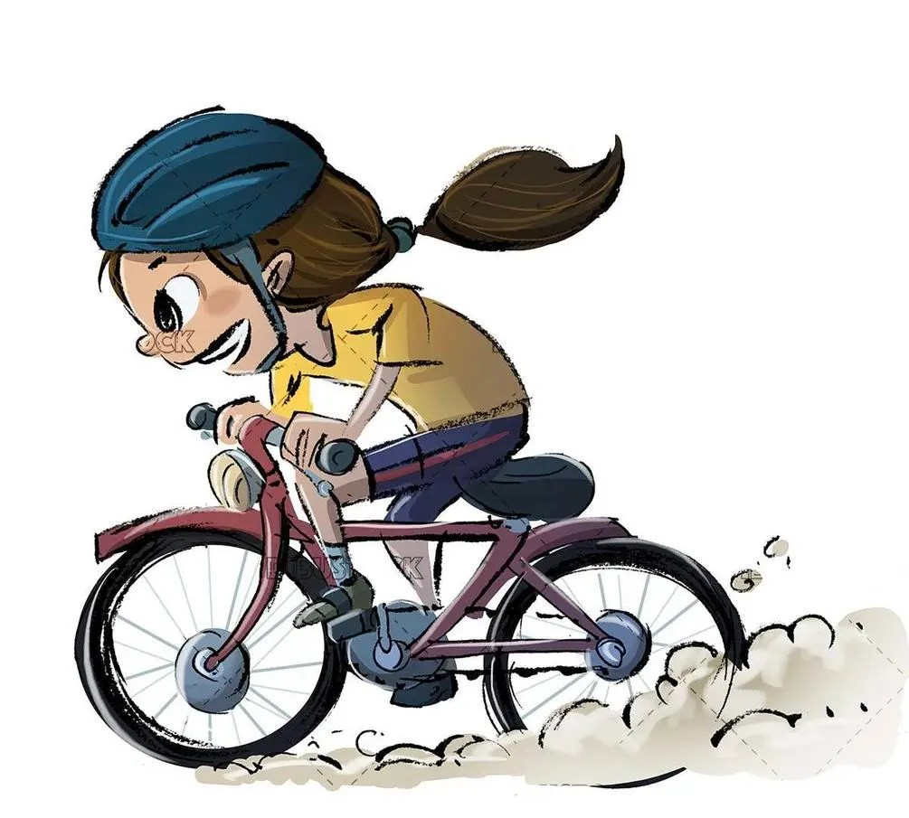 girl with bicycle and helmet running at full speed