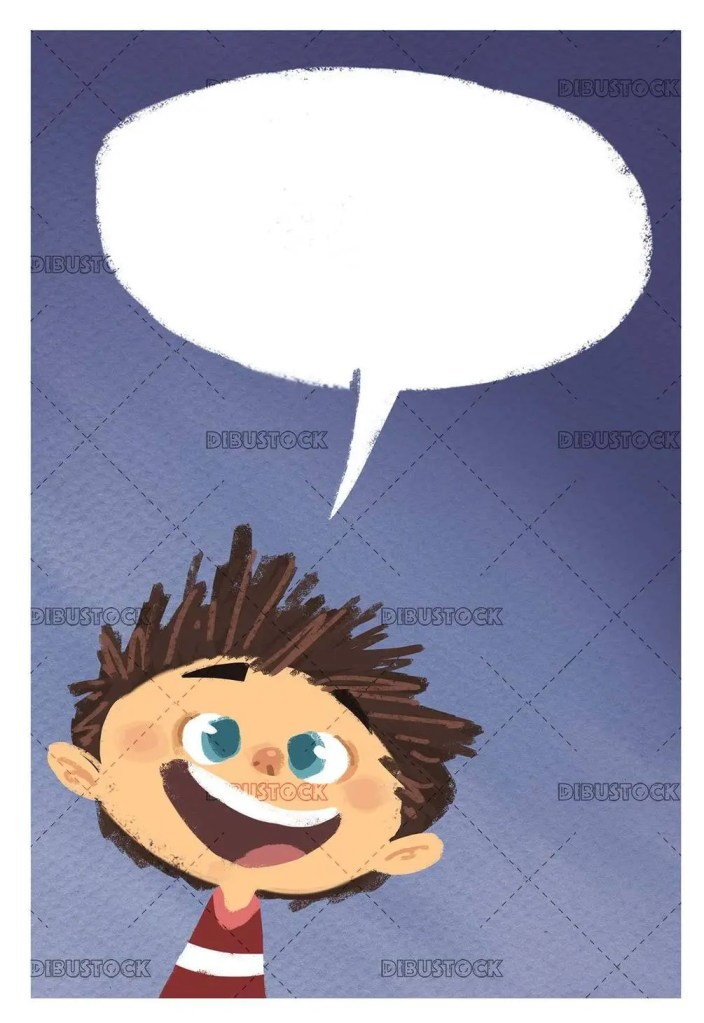 happy boy face talking