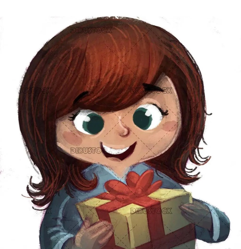 happy girl face with gift box and isolated background