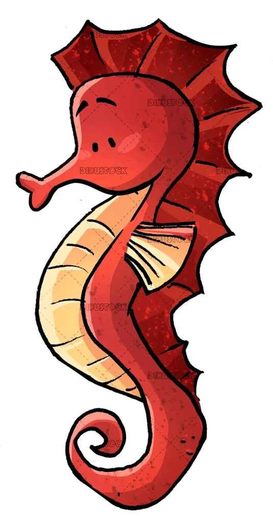 red seahorse isolated