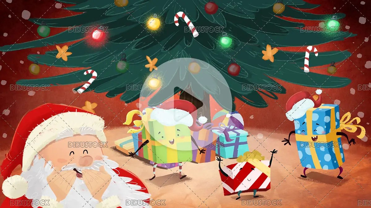 Santa claus with gifts laughing