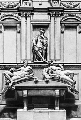 Микеланджело. Гробница Лоренцо Медичи в Новой сакристии церкви Сан-Лоренцо во Флоренции. 1520—34.