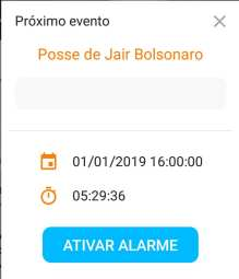 Notificação de Eventos da posse do Presidente.