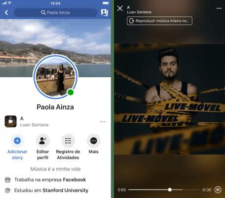 Agora é possível inserir música no perfil do Facebook. - Imagem: Facebook NewsRomm