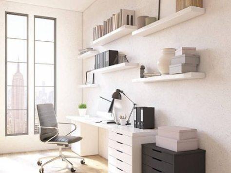 home office - escrivaninha de lado para janela