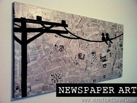 decoração com jornal - quadro de jornal