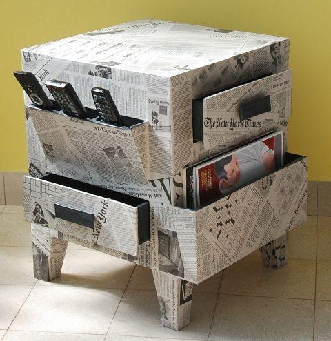 decoração com jornal - móvel revestido