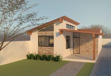 casa simples fachada platibanda madeira revestimento detalhes pedra