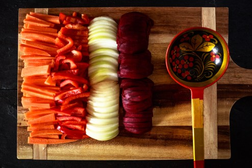 Julienned Vegetables prepped for Borscht