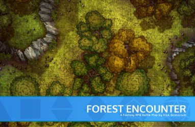 Forest Encounter D&D Map for Roll20 And Tabletop Dice Grimorium