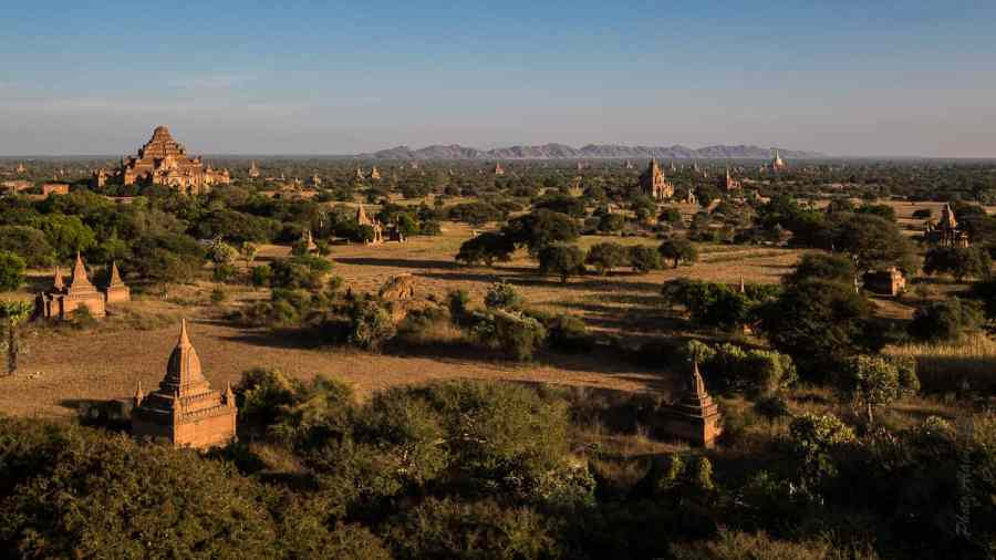 Coucher de soleil sur la plaine de Bagan où domine le Dhammayanggyi Temple