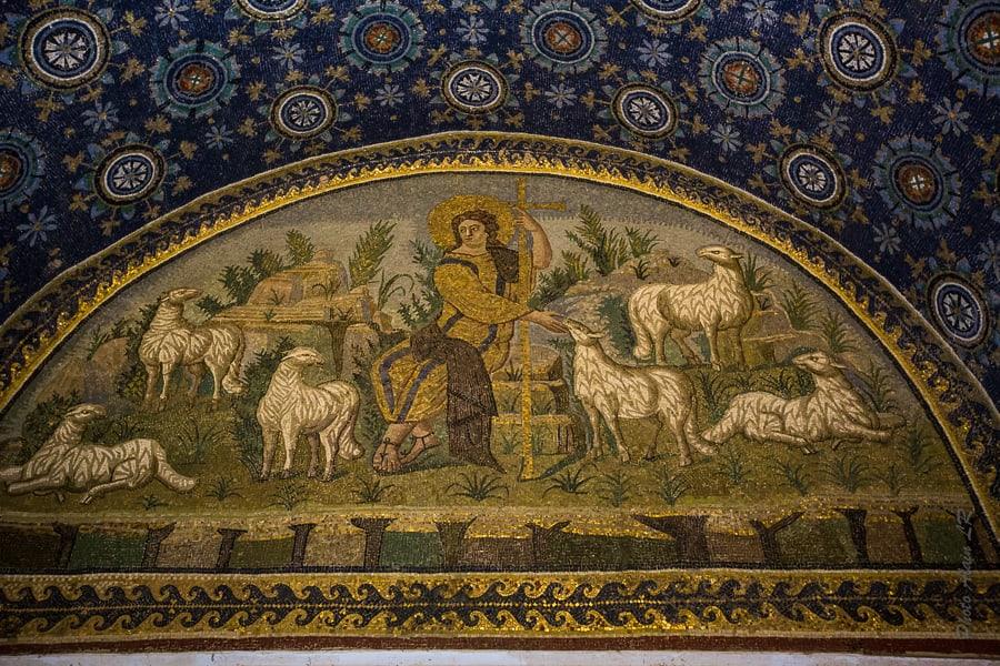 Mosaïque du bon pasteur - Mausolée de Galla Placidia