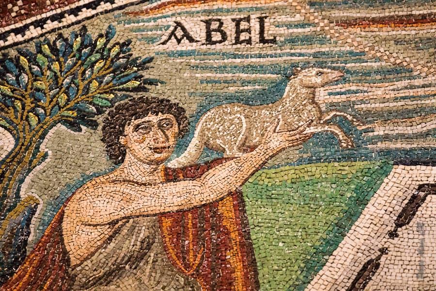 Abel dans la mosaïque du sacrifice d'Abel et Melchisedech - San Vitale