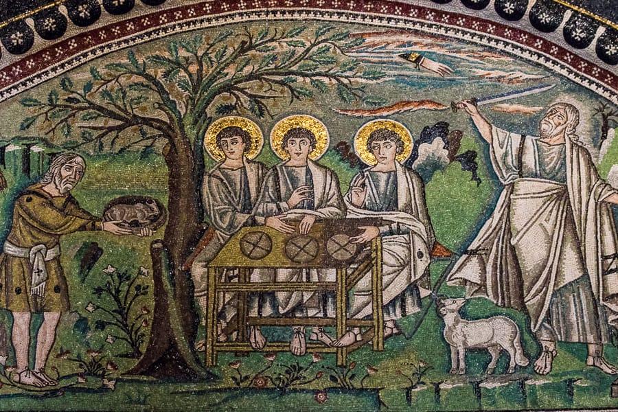 Mosaïque de la scène d'Abraham recevant trois anges